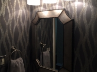 Secondary bath mirror, light, wallpaper